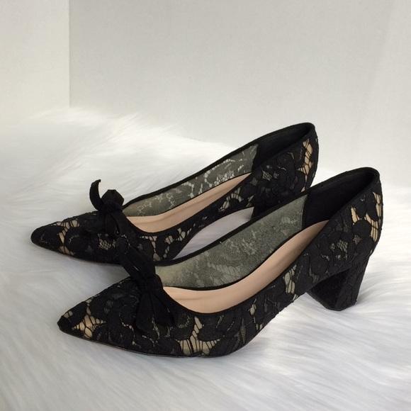 Kate Spade New York block heels laced bow black